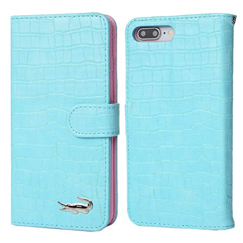 iPhone 8 Plus Case iPhone 7 Plus Case, Crocodile Pattern Wallet Soft PU Leather Case with Kickstand Function Card Holder and ID Slot Slim Flip Protective Case