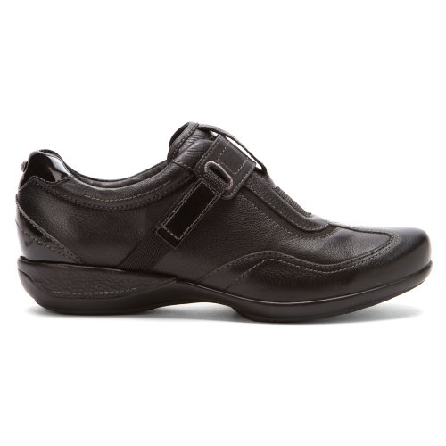 Aetrex Womens Essence Diane Single Strap Slip-On Black Leather Osy7zO