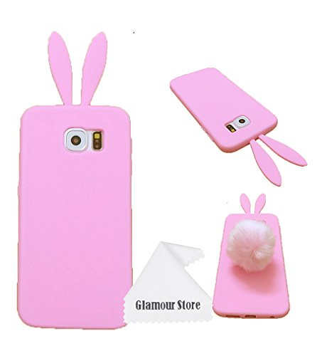 Galaxy S6 Case,Cute Lovely Rabbit Pattern Silicone Bunny Case Skin Cover Protective For Samsung Galaxy S6 With Furry Tail With Free Cleaning Cloth As a Gift,Not Fit For Samsung Galaxy S6 Edge (Pink)