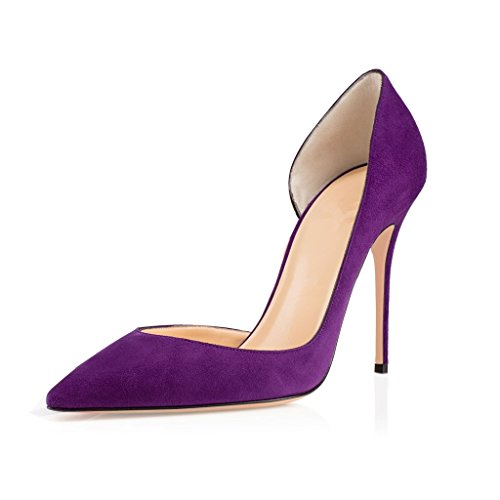 EDEFS Womens Pointed Toe d'Orsay Court Shoes Slip-on Cut-outs Pumps Ladies Evening Shoes Purple 23TMIShGzF