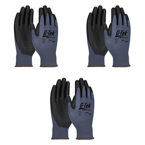 G-TEK 34-600 NEOFOAM SEAMLESS KNIT NYLON GLOVE WITH NEOFOAM COATED PALM & FINGERTIPS – 15 GAUGE BLUE (3 Pair Pack) (Fingertip Nylon Gloves)