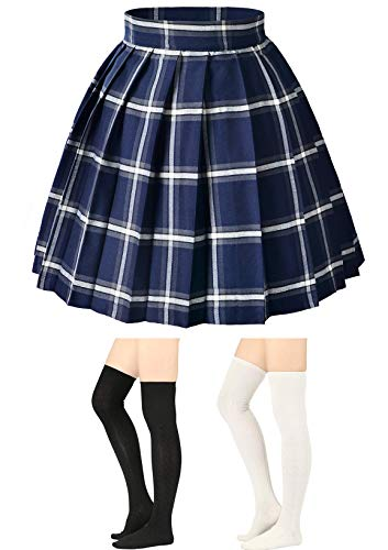 Elibelle Women's Adjustable Waist Tartan Pleated School Skirt with 2 Pairs Socks(Asia -