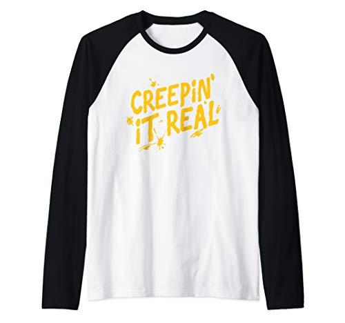 Creepin' It Real Funny Halloween Raglan Baseball Tee -
