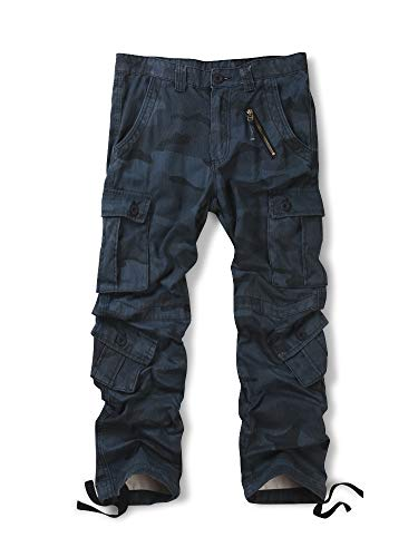 OCHENTA Men's Cotton Military Cargo Pants, 8 Pockets Casual Work Combat Trousers #3357 Z Blue 42