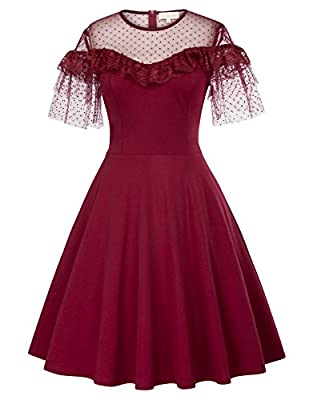 Kate Kasin Women's Short Sleeve Vintage Polka Dot Cocktail Swing Dress