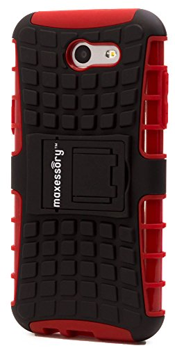 Maxessory Offroad Shock-Proof Rugged Dual-Layer Armor Rigid Ultra-Slim Kickstand Protective Hard Tough Hybrid Phone Cover Shell Red Case Compatible with Galaxy J3 Prime Cover