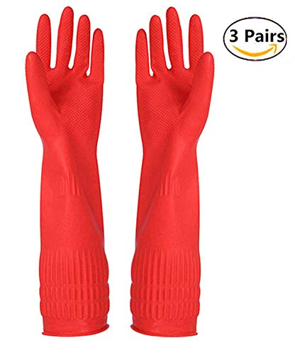 Rubber Cleaning gloves Kitchen Dishwashing glove 3-Pairs,Waterproof Reuseable. (Medium)