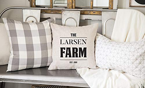 Qualtry Personalized Family Farm Pillow Cover Home Accents Country Decor 18inch x 18inch – Farmhouse Cottage Throw Pillows Cases Birthday Gifts for Mom and Grandma (Larsen Design) Review