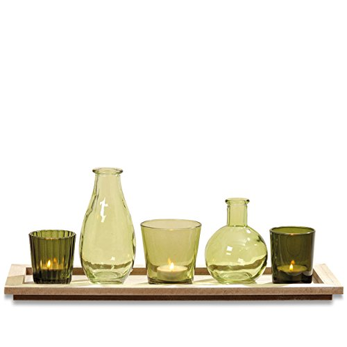 2 Candle Trays - The Naturally Modern Centerpiece of 3 Votives and 2 Vases on a Rectangular Tray, Shades of Green, Glass, For Candles and Flowers, Over 1 Ft Long (15 ¾ L x 5 ½ W x 6 H inches) by Whole House Worlds