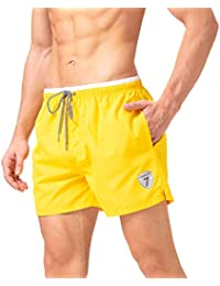 5e84098a2a Mens Swim Trunks Solid Beach Shorts Quick Dry Swimwear Bathing Suits with  Breathable Mesh Lining