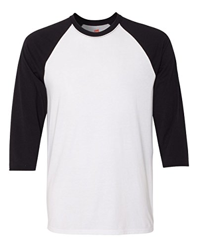 White Baseball T-shirt (Hanes Unisex X-Temp Performance Baseball Tee, 42BA, XL, White/Black)