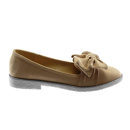 Angkorly Damen Schuhe Mokassin - Slip-On - Knoten - Glänzende Blockabsatz 2.5 cm Hellrosa