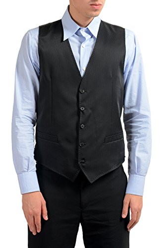 Dolce & Gabbana Men's 100% Wool Black Striped Button Up Dress Vest US 40 IT 50 ()