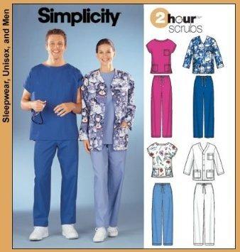 891e7d2e24b Simplicity 5441 Misses & Mens Scrubs, Tops, Pants, Jacket Pattern - Size AA