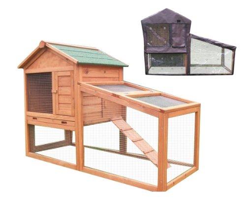 Bunny Business Kaninchenstall mit integriertem Laufbereich und Abdeckung, 140°x°65°x°100°cm