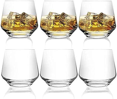 [ 6-pack,380 ml/12.9oz]DESIGN·MASTER - Premium Vasos de whisky , Vaso estilo rock antiguo para whisky escocés, bourbon, cócteles, ron, vasos de whisky duraderos para fiestas y campamentos.