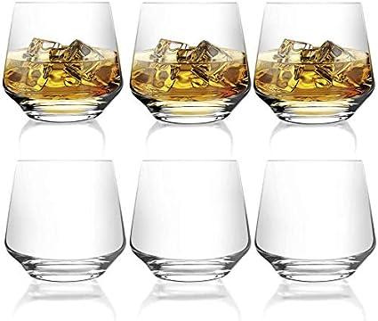 [ 6-pack,380 ml/12.9oz]DESIGN·MASTER - Premium Vasos de whisky , Vaso estilo rock antiguo para whisky escocés, bourbon, cócteles, ron, vasos de whisky ...