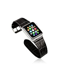 Apple Watch Band with Metal Clasp - Jisoncase Handmade 42mm Top Quality Genuine Leather Replacement Watchband Strap Wrist Band w/ Metal Clasp for Apple Smart Watch in Black(JS-AW4-06V10)