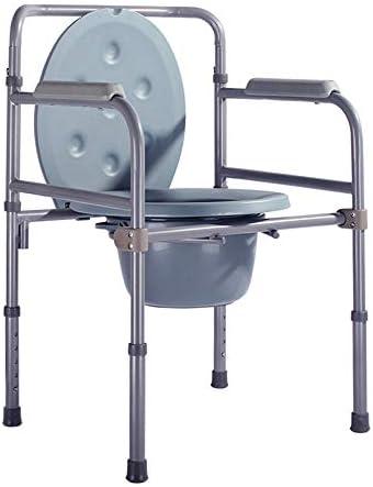 Wei Jun ベッドサイド便器椅子、アルミ合金素材シニアバススツール高さ調節可能なスキッドバススツール折り畳み式の便座 /-/-/ (Color : A)