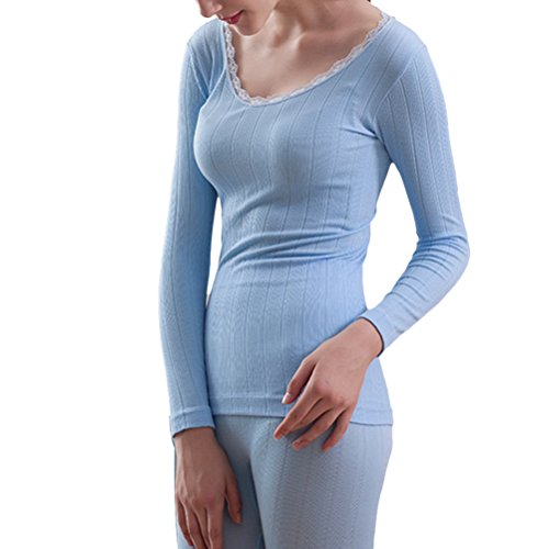 Zhhlaixing Mujeres Lace Cotton Body-shaped Round Neck Thermal Underwear Set Shirt &Pants Hot Light Blue