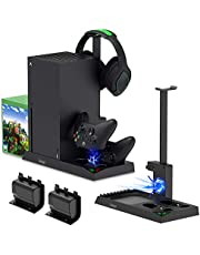 Charging Stand with Cooling Fan for Xbox Series X Console and Controller,Vertical Dual Charger Station Dock Accessories with 2 x 1400mAh Rechargeable Battery and Cover,Headset Stand and 10 Game Slots