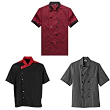 TopTie 3 Pack Men & Women Short Sleeve Chef Coat Jackie