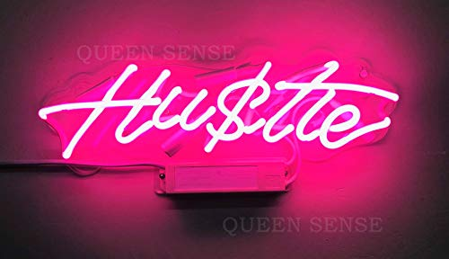 Queen Sense 14″ Hustle Neon Sign Light Decorated Acrylic Panel Handmade Beer Bar Pub Man Cave Lamp UT184
