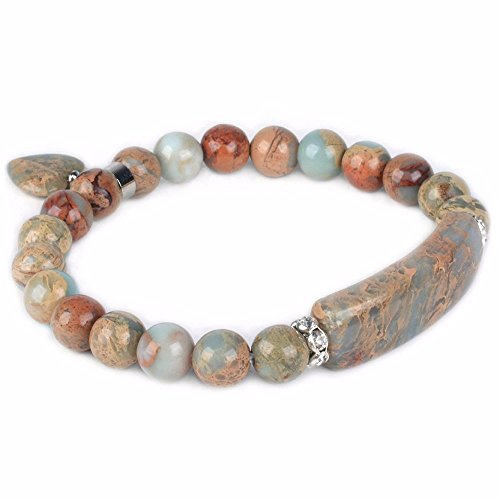 Gemstone Handmade Indian Jewelry - Natural Serpentine Gem Semi Precious Gemstone Love Heart Charm Stretch Bracelet