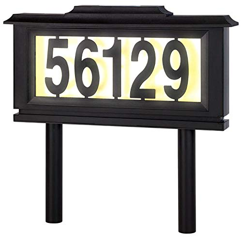 - Solar Address Sign Lighted House Number Address Plaque Outdoor LED Light Sign