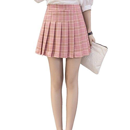 RTYou New Style High Waist Plaid Skirts (Pink, S) -