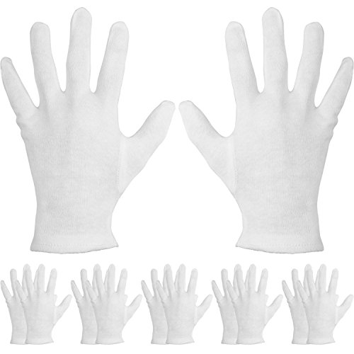 Hands Moisturizing (Mudder 6 Pairs Cotton Cosmetic Gloves Hand Spa Gloves for Moisturizing, White (L Size))