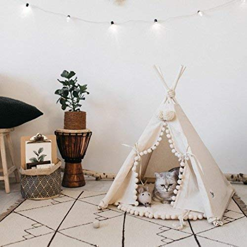 Handmade Dog Teepee Cat Teepee Original Design Cat Bed and Dog Bed, Hypo-allergenic Pet Teepee Tent from Certified 100 Canvas Small size