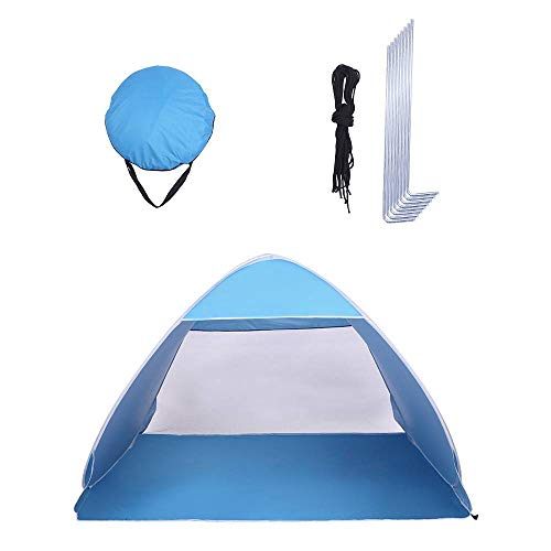 Binlin Beach Tent, 2-3 Person Beach Pop Up Sun Shelter Tent Big Automatic Sun Umbrella 2-3 Person Fishing Beach Shelter,Blue