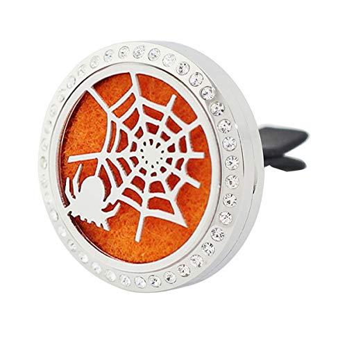 Halloween Car Air Freshener Aromatherapy Essential Oil Diffuser, Rhinestones Spider Stainless Steel 30mm Locket, 11 Refill Pads