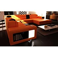VIG Furniture 5022 Polaris Orange Bonded Leather Sectional Sofa
