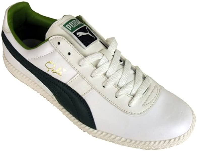 Mens Puma Pele 76 Lace Up White Green Leather Retro Vintage