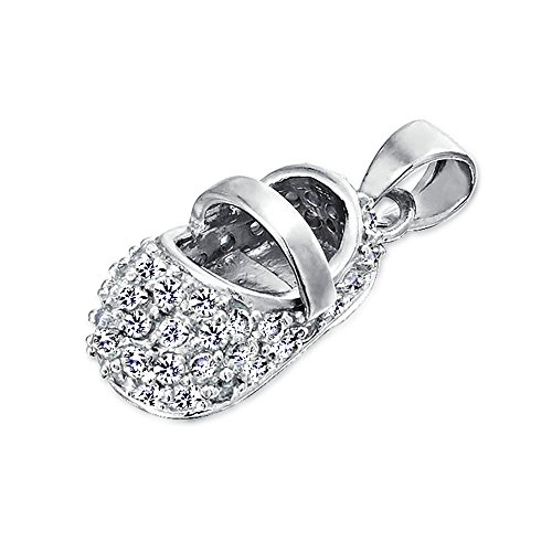 Simulated Moonstone CZ June Birthstone Baby Shoe Charm Sterling Pendant with Engraving