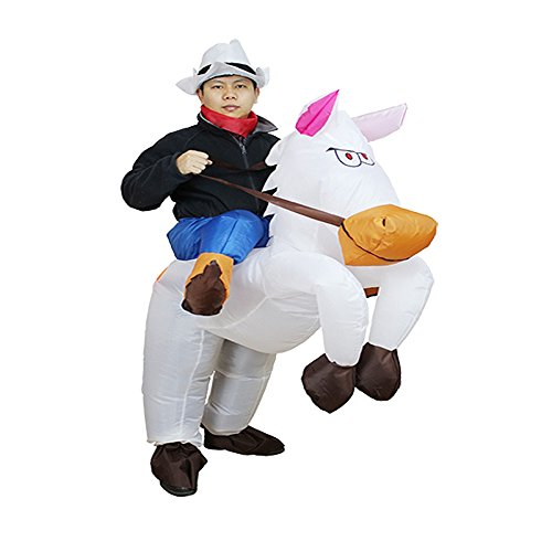 Adult Inflatable Cowboy Fancy Dress Costume Men Ride On Horse Halloween Cosplay Suit (Adult, White) ()