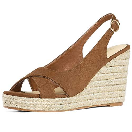 Allegra K Women's Slingback Platform Heel Brown Espadrille Wedges Sandals - 7.5 M US