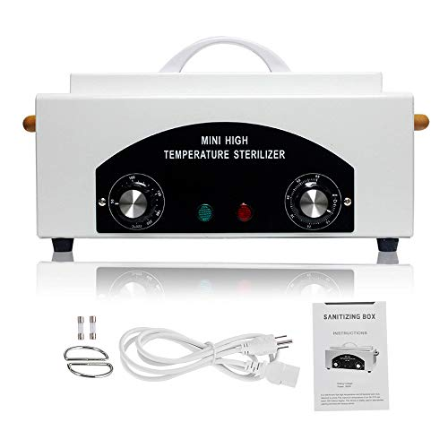 Soiiw CH-360T Heat Sterilizer 300W 1.5L w/Timer Disinfection Box Manicure Pedicure SPA Salon Equipment for Sundry Beauty Hair Nail Metal Tools with Handle