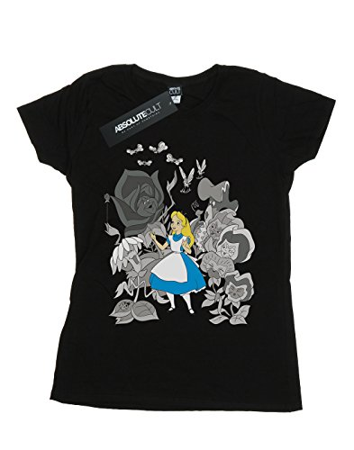 Nero Alice Flowers Maglietta Donna Disney In Wonderland POwvU