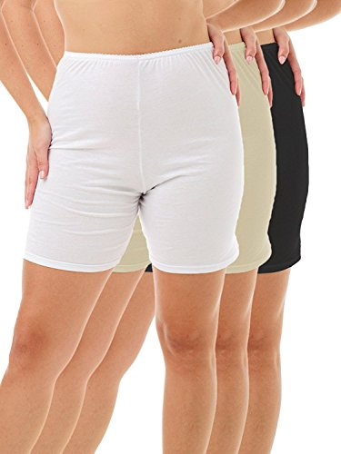 Underworks Womens 100% Cotton Cuff Leg Bloomers 8-inch Inseam White-Beige-Black 3-Pack 3X 45-46 Hips ()
