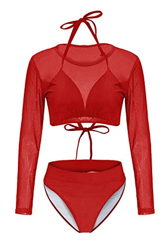 Kisscynest Women's Halter Straps Cut Out Three Pieces Lone Sleeve Mesh Bikinis Swimwear M Red