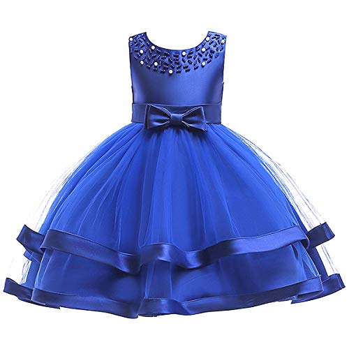 Dress Blue Girls Ruffle (SINDE Wedding Party Pageant Princess Dresses for Girls Sleeveless Tulle Ruffles Bow Tie Sundress Flower Girl Dress Blue)