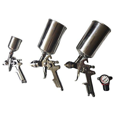 3 Pcs HVLP Air Spray Gun Kit Gravity Feed Car Auto Painting Primer Detail Basecoat Set