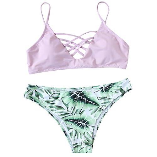 ROMWE Maillots de Bain 2 Pièces Bikini à Bretelle Bikini de Plage Push-up Rembourré Piscine