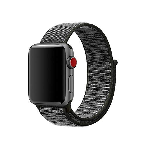 - Soft Breathable Nylon Sport Loop Band Adjustable Wrist Strap Replacement Band Compatible with iWatch 2018 Apple Watch Series 4 3/2/1 (Dark Oliva, 40mm)