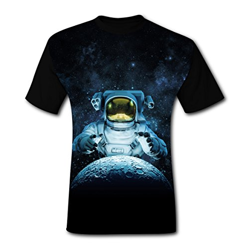 LZQ Tshirt Man Crew Neck New Awesome Tshirts 3D Making with Space Moon for Men L -