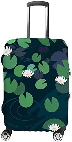 スーツケースカバー 水ユリ 蓮の花 伸縮素材 キャリーバッグ お荷物カバ 保護 傷や汚れから守る ジッパー 水洗える 旅行 出張 S/M/L/XLサイズ