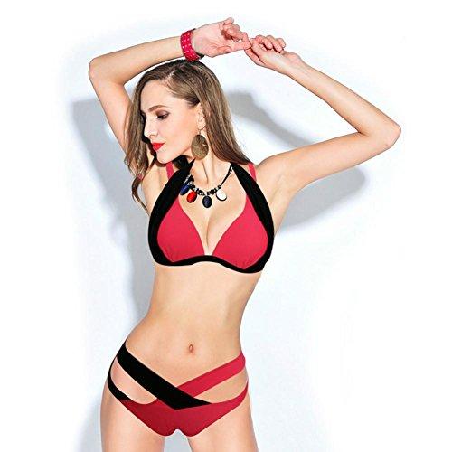XLHGG Bikiníes de triángulo de la parte inferior del cuello del halter atractivo de las mujeres fija el traje de baño watermelon red + black